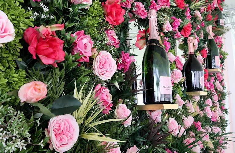 Artificial Flower Wall - Supplied & installed for Moet & Chandon's at Royal Ascot 2019